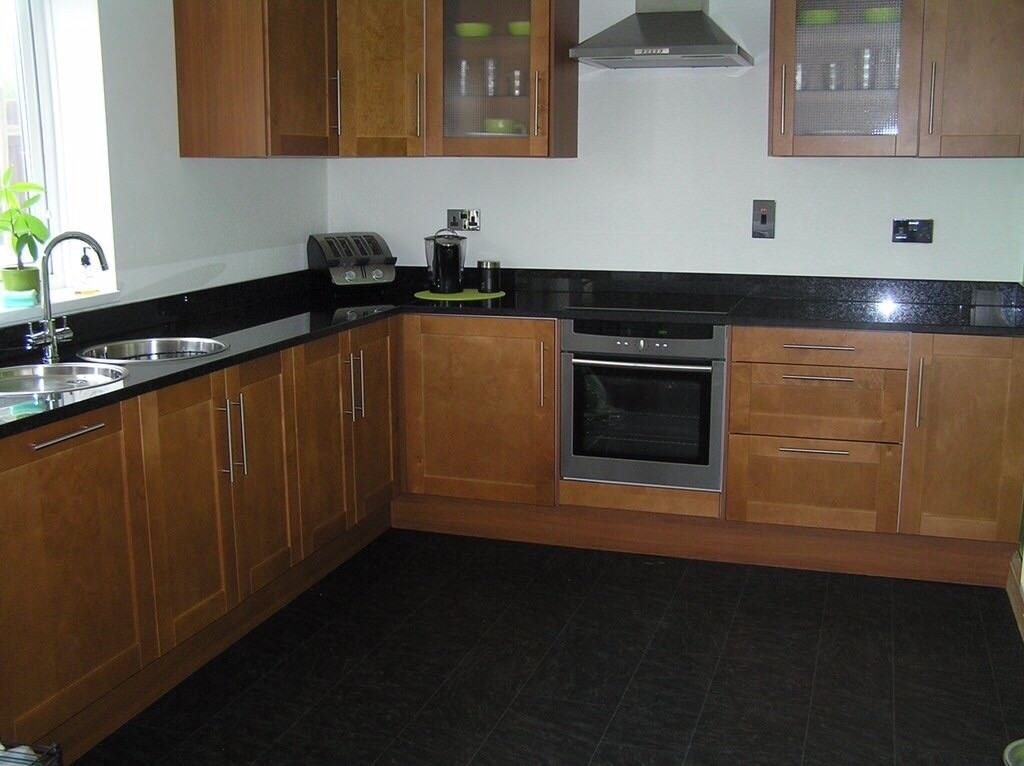cherry oak kitchen cupboard doors/2 wall cabinets/drawer fronts/side