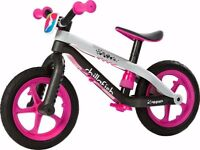 Excellent Condition ChillaFish BMX Balance Bike Pink/Blk/Gry
