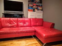 Red leather corner sofa from dfs was £2000