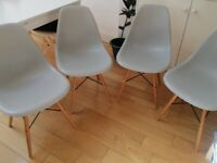 Eames Style Dining Chairs x4 (Light Grey)