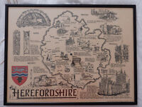 Rare Map of Herefordshire by Roy Faiers 1969