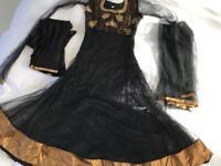 Asian Black Gold Gown Dress