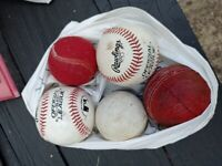 2 Rawlings Official League Baseball Balls and other 3 balls