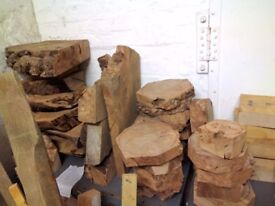 Wood turning blanks and thick slabs (Oak, Ash, Elm, Yew) - Live edge, Burr Elm, Scottish hard wood