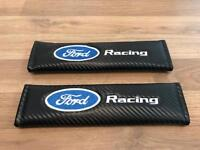 2X Seat Belt Pads Carbon Gift Ford Kuga Mondeo Fiesta Focus ST RS Racing Turbo Race
