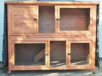 Large Double Rabbit or Guinea Pig Hutch with Insulated Cover