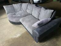 3 seater grey sofa and swivel chair