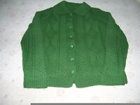 Ladies Hand Knit Aran Cardigan