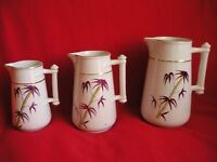 Set of 3 Fine Antique Graduated Jugs Bamboo/Rope Design