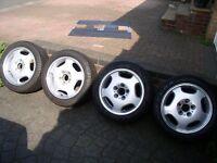 "Mercedes 190E W202 W201 W124 etc 7.5J 16"" ET41 5 x 112 OEM 2104010402 Merak alloys and Fulda tyres."