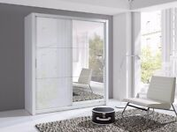 Lux 180 2 Door Sliding high gloss + Mirror Wardrobe in black or white, cabinet