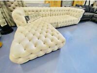 2.7m Cream Button Sofa