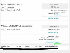 2x UFC London tickets