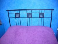 Black Metal Double Bed Headboard