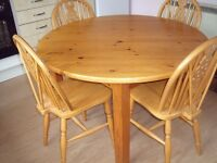 circular kitchen table and four chairs - pine table, beech wood chairs