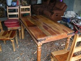 used teak table and chairs