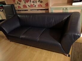 Good condition navy blue real leather 3 seater sofa and armchair