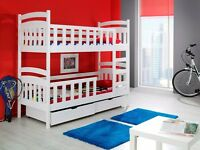 WHITE PINE WOODEN Bunk Bed with Mattresses & Storage NEW