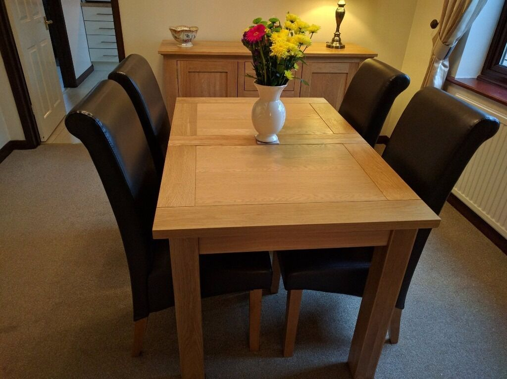 Harvey solid oak small leaf extending dining table 120cm to153cm x 80cm wide brand new boxed - Table 120 cm ...