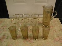 1930s Lager Glasses, Tumbler Glasses, And Maching Tall Jug