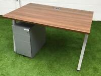 Walnut angled leg desk pedestal cheap office furniture harlow essex london