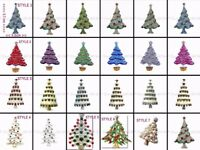 Christmas Xmas Sparkling Diamante Tree Brooches Broach Pins Gift Party Pin Lapel - Stock