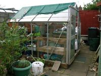 8ft x 6ft greenhouse, aluminium frame, horticultural glass. excellent condition