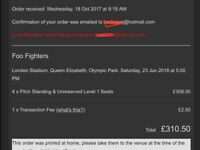 2 x Standing Foo Fighters tickets, Standing London Stadium Fri 22nd June