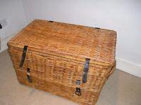 Large wicker blanket box