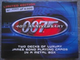 Dual Pack Of 2001 '40th Anniversary 007' Picture Playing Cards (as new)