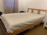 Large Double Mattress & Wooden Bed Frame - Like New