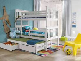 New White Bunk Beds triple Sleeper with mattresses