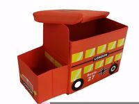 SALE *** Kids London Bus Ottoman Toys Books Box Storage Seat Chest Pouffe Bedroom Chair £8.99