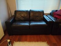 Leather sofa (2 seater, black) & Matching Armchair - good condition