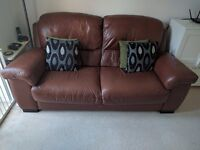Maskreys two and a half width Sofa and matching single width chair in nut brown - great condition