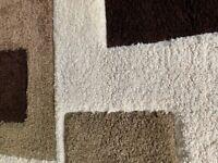 Large Dunelm Shaggy Rug - Cream & Brown (single or pair)