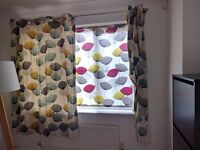 Set of curtains and blind