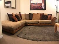 Large Tan Leather/Scatter Cushion Corner Sofa