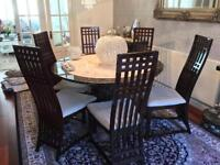 Crema Marfil & Empredor MARBLE DINING TABLE + 6 CHAIRS