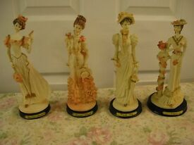 Four 19th Century Ladys With Pedistalls