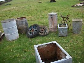riveted galvanised antique troughs