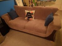 Pair of DFS 3 seater sofas and matching footstool