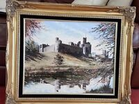 Alnwick castle oil painting by Dallas K Taylor in ornate gold frame