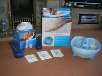 Pamper Set includes foot bath, bath massager and facial sauna as new. Hardly used. £20