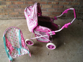 GIRLS PUSHCHAIR AND BABY CHAIR