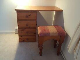 Pine Dressing Table + Upholstered Stool