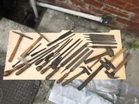 Large selection of old wooden handle tools and files