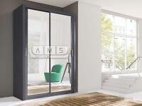A 2 DOOR SLIDING WARDROB WITH MIRROR, BLACK, WHITE 150cm Wide