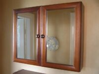 2 Attractive Redwood/Mirror fronted wall cupboards
