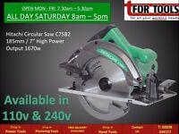 "Hitachi Circular Saw C7SB2 185mm/7"" High Power Output 1670w"